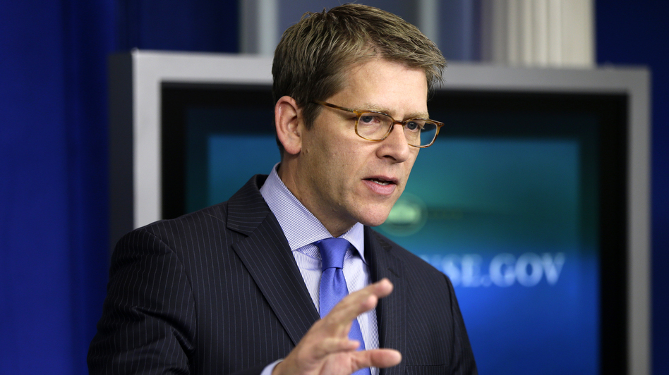 "White House spokesman Jay Carney briefs reporters Thursday at the White House. ""This administration does not believe the 14th Amendment gives the president the power to ignore the debt ceiling — period,"" he said. (AP)"