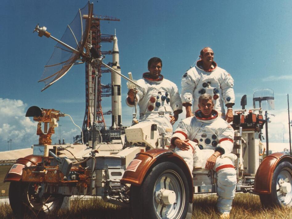 """Apollo 17 was the sixth and final Apollo mission to the moon. Here, lunar module pilot Harrison """"Jack"""" Schmitt, Cmdr. Eugene Cernan and command module pilot Ron Evans pose in the lunar vehicle. (NASA)"""