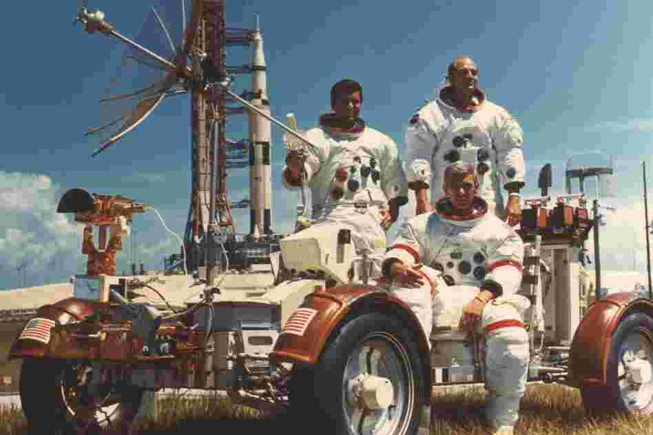 "Apollo 17 was the sixth and final Apollo mission to the moon. Here, lunar module pilot Harrison ""Jack"" Schmitt, Cmdr. Eugene Cernan and command module pilot Ron Evans pose in the lunar vehicle."