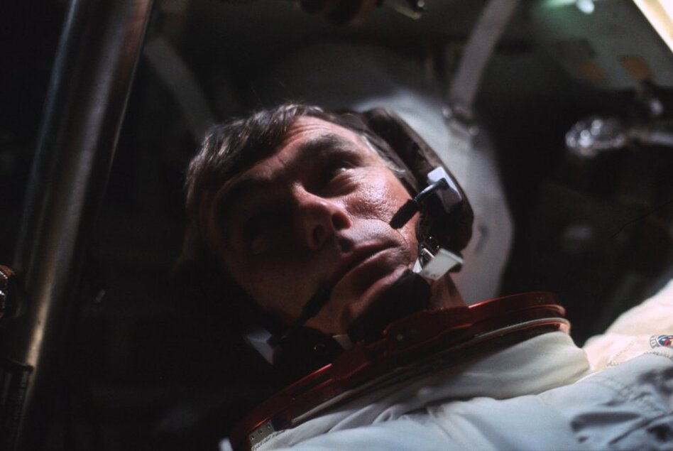 Cernan is seen in the command module during the outbound trip to the moon. (NASA)