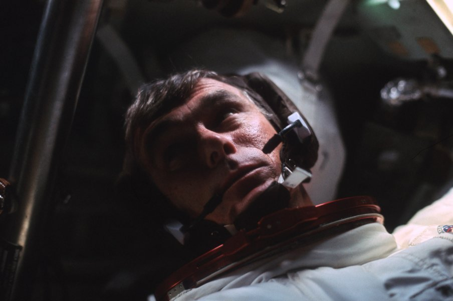 Cernan is seen in the command module during the outbound trip to the moon.