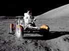Cmdr. Eugene Cernan tests the lunar vehicle on the surface of the moon during the Apollo 17 mission.