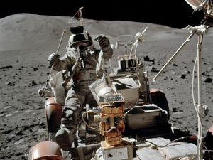 Cernan photographed Schmitt while he set up a transmitter used in a geological experiment.