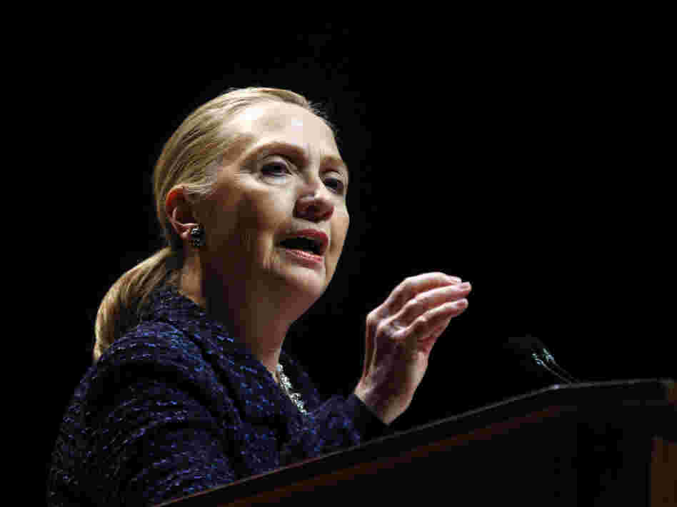 U.S. Secretary of State Hillary Clinton delivers a speech at Dublin City University in Ireland on Thursday. She also met with Russian Foreign Minister Sergei Lavrov to discuss Syria.