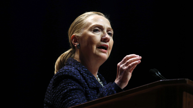 U.S. Secretary of State Hillary Clinton delivers a speech at Dublin City University in Ireland on Thursday. She also met with Russian Foreign Minister Sergei Lavrov to discuss Syria. (AFP/Getty Images)
