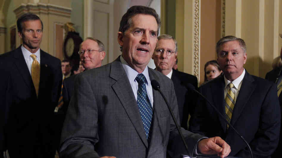 Sen. Jim DeMint, R-S.C., speaks to the media after a Republican caucus luncheon last year. He's joined by (from left): Sen. John Thune, R-S.D.; Sen. Lamar Alexander, R-Tenn.; Senate Minority Leader Mitch McConnell, R-Ky.; and Sen. Lindsey Graham, R-S.C.