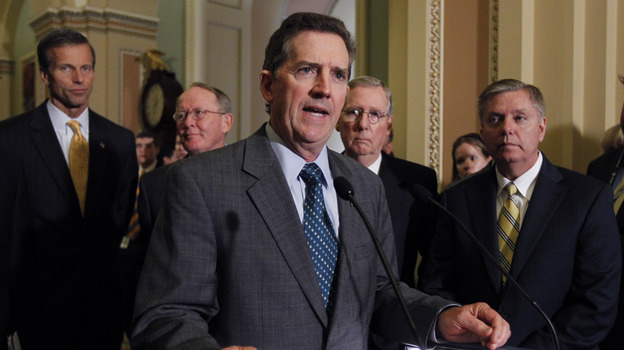 Sen. Jim DeMint, R-S.C., speaks to the media after a Republican caucus luncheon last year. He's joined by (from left): Sen. John Thune, R-S.D.; Sen. Lamar Alexander, R-Tenn.; Senate Minority Leader Mitch McConnell, R-Ky.; and Sen. Lindsey Graham, R-S.C. (AP)