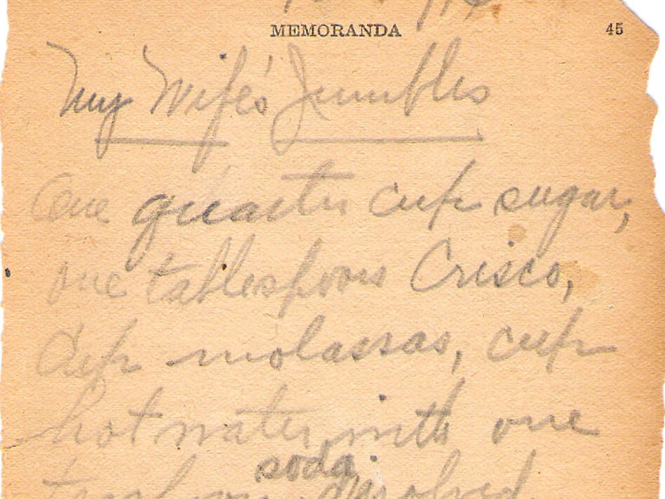 In 1914, Frederick Rickmeyer documented his wife's cookie recipe on the blank memoranda pages of a cookbook. (Courtesy of Laurie Pavlos)