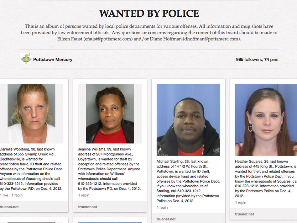 People wanted by the police in Pottstown, Pa., are displayed on the Pinterest page of a local newspaper. The police department's social media strategy, which aims to get the images of criminals seen by more people, has also been adapted in Philadelphia.