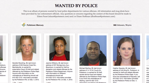 People wanted by the police in Pottstown, Pa., are displayed on the Pinterest page of a local newspaper. The police department's social media strategy, which aims to get the images of criminals seen by more people, has also been adapted in Philadelphia. (Pinterest)