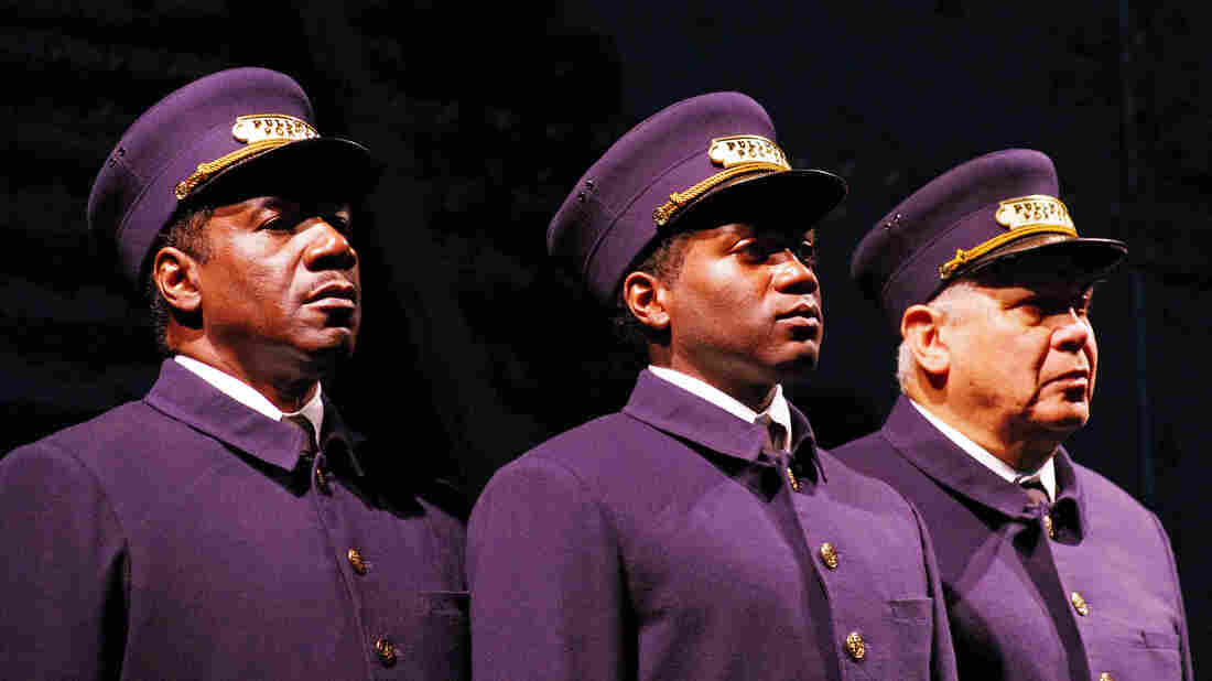 Left to right: Actors Cleavant Derricks (as Sylvester), Warner Miller (as Cephas) and Larry Marshall (as Monroe) star in Pullman Porter Blues.