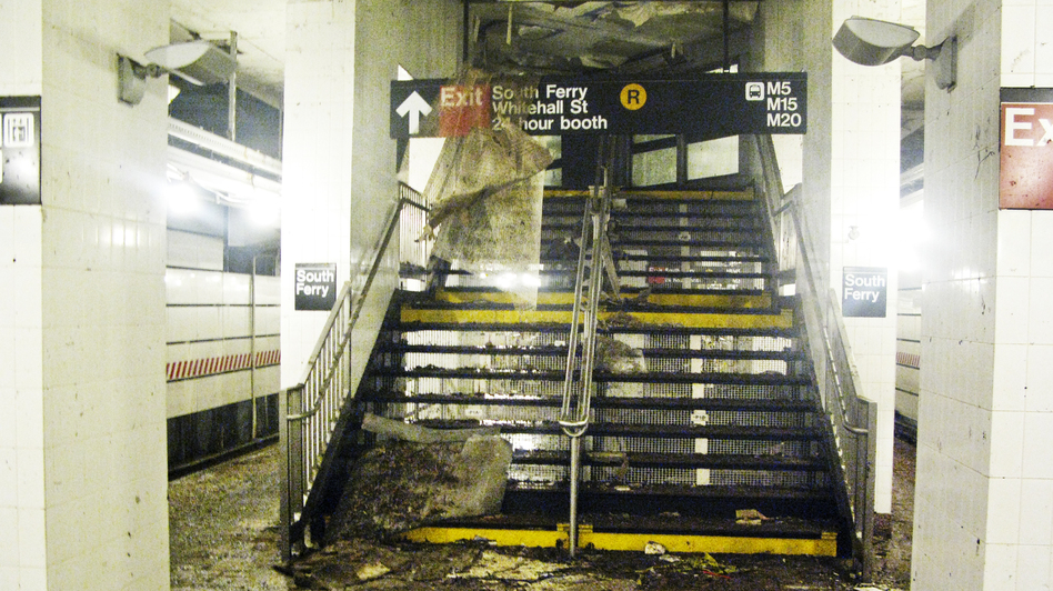 This platform at the South Ferry subway station was flooded by seawater during Superstorm Sandy. (NPR)