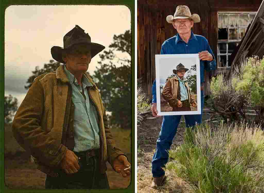 Paul Thomas (right) at his old family homestead, holding the Russell Lee photo of his father, which appears in full on the left