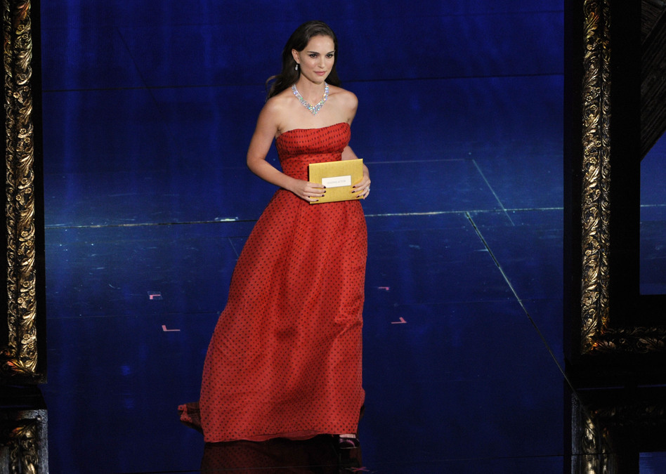Presenter Natalie Portman, 5 feet 3 inches, at the 84th Annual Academy Awards. (Getty Images)