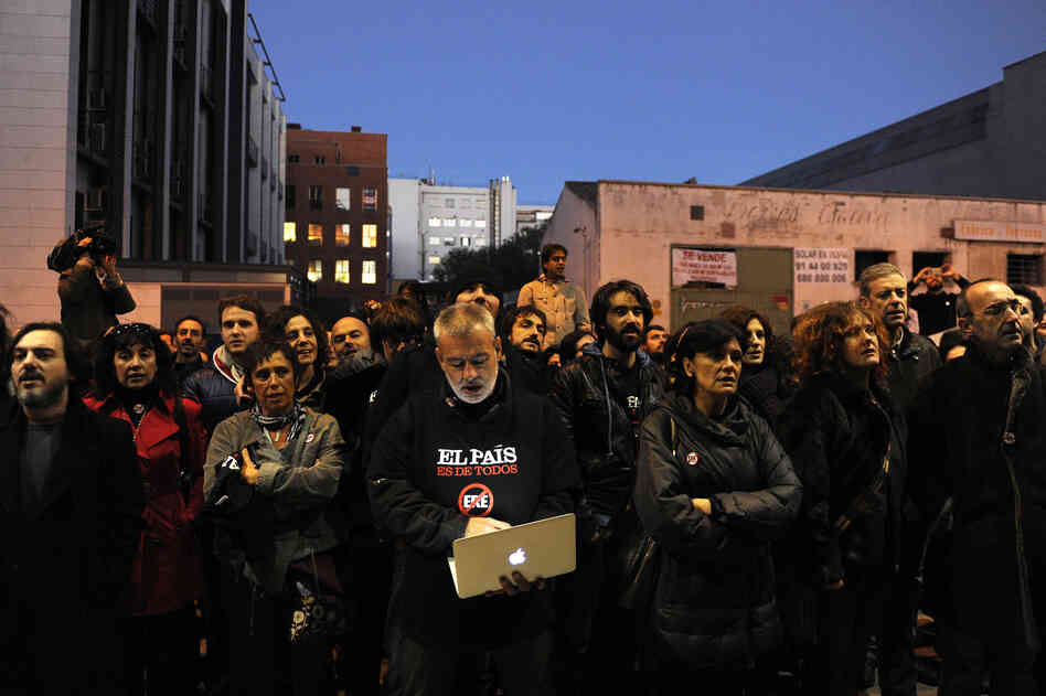 El Pais journalists demonstrate outside the newspaper's headquarters in Madrid last month.