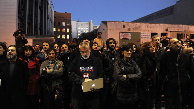 El Pais journalists demonstrate outside the newspaper's headquarters in Madrid last month. (AFP/Getty Images)
