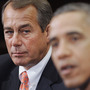 Speaker of the House John Boehner listens as President Obama speaks during a meeting with bipartisan group of congressional leaders in November.