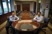 Orange County Register publisher Aaron Kushner (left) and company president Eric Spitz. This summer, Kushner's Boston-based investment firm, 2100 Trust, bought Freedom Communications and the Register.