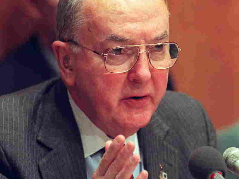 US Sen. Jesse Helms, R-NC, Chairman of the Senate Foreign Relations Committee, speaks during hearings on Capitol Hill December 1, 1995