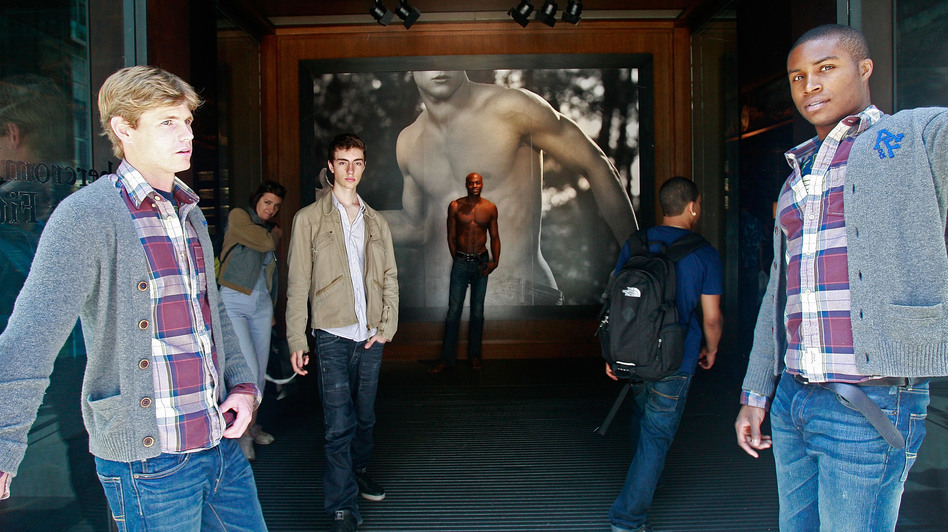 A model at the front entrance to the Abercrombie & Fitch flagship store in New York City. (Getty Images)