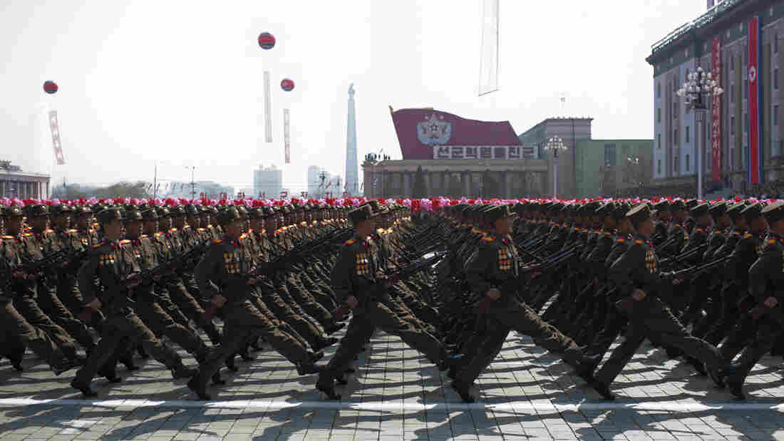 North Korean soldiers march during a military parade to mark 100 years since the birth of North Korea's founder Kim Il Sung in Pyo