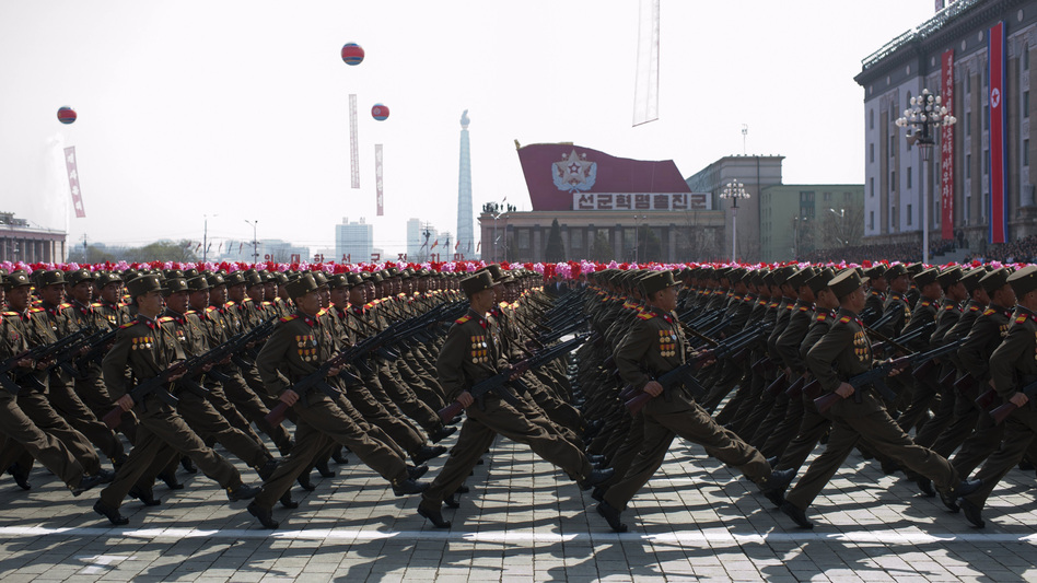 "North Korean soldiers march during a military parade to mark 100 years since the birth of North Korea's founder Kim Il Sung in Pyongyang on April 15. It was supposed to be the year North Korea would become a ""strong and prosperous"" nation. That hasn't exactly been the case. (AFP/Getty Images)"
