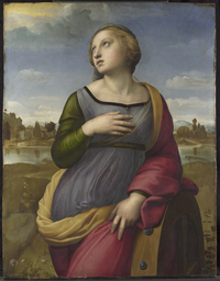 "Raphael's Saint Catherine of Alexandria, circa 1507. NGA curator David Brown says, ""His depiction adopts Catherine's traditional attribute -- the wheel that broke during her martyrdom -- but instead of stressing the horrific aspect of the event, Raphael has her leaning on the broken wheel in a relaxed classical pose."""