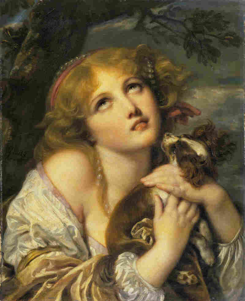 "Jean-Baptiste Greuze's The Souvenir (Fidelity), 1787-1789. Yuriko Jackall, a curator at the National Gallery of Art in Washington, D.C., says Grueze's subject may be cluching her dog in fear of the storm gathering behind her. ""The viewer may, however, also imagine that she is portrayed in the throes of longing for an absent lover,"" Jackall says."