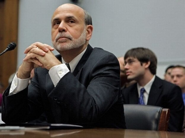 """Federal Reserve Chairman Ben Bernanke testifies before the House Financial Services Committee on Feb. 29, 2012 and adds the phrase """"fiscal cliff"""" to the national lexicon."""