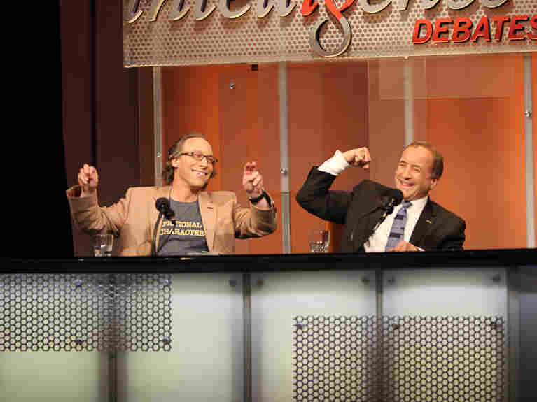 "Lawrence Krauss and Michael Shermer react to their victory after arguing that ""Science Refutes God"" in an Intelligence Squared U.S. debate."