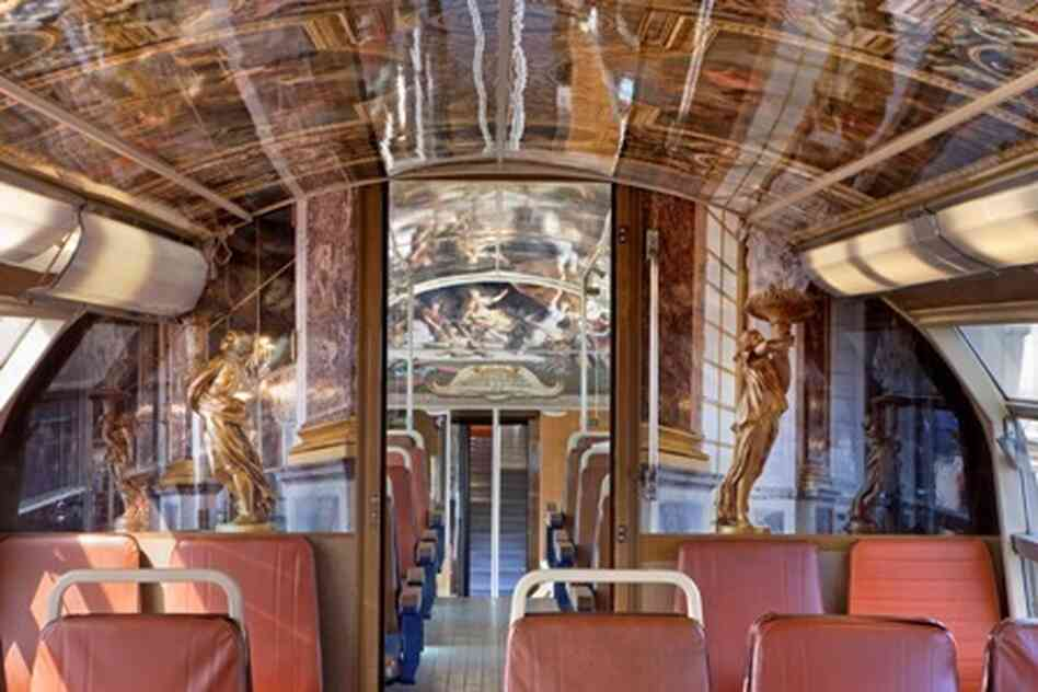 The cars of about 30 trains traveling between Paris and the Palace of Versailles are decorated to reflect rooms and other ar