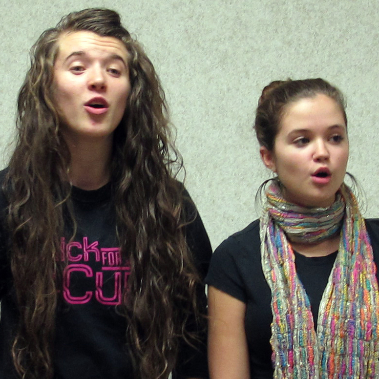 Three OHDELA students -- from left, Hannah Fulks, Erika Blon and Randi Beatty -- sing together. The online school's chorus meets for in-person practice once each quarter.