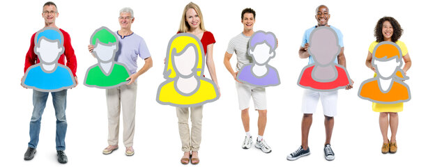 A group of people, each holding their own avatar.
