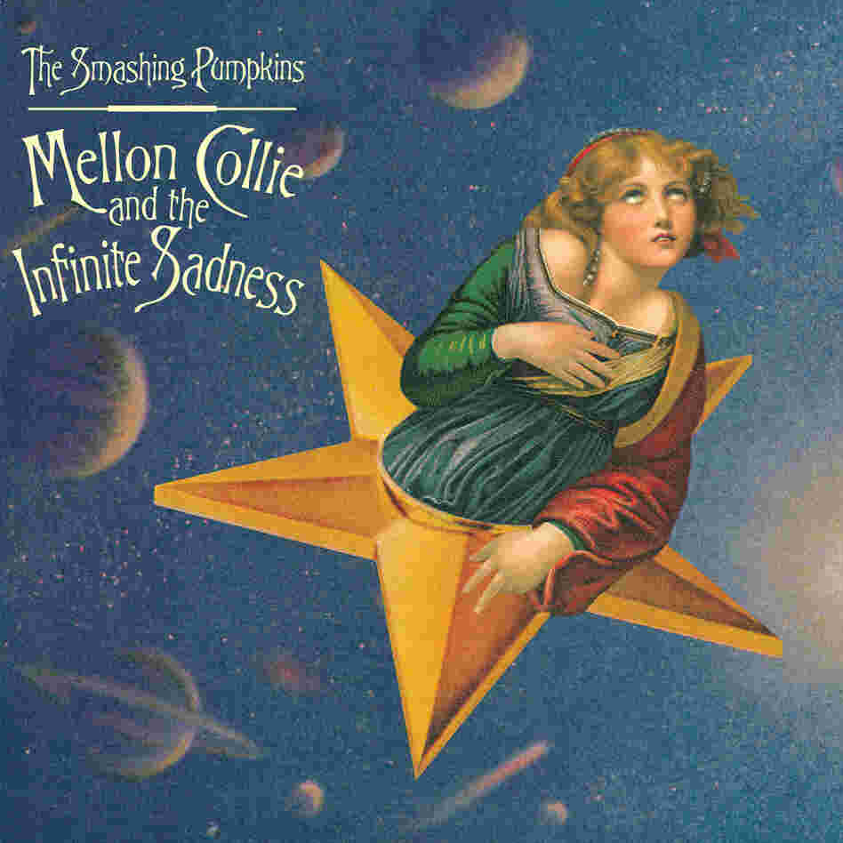 Craig's finished cover for Mellon Collie. Here, the Raphael body is pitched forward and sized to fit with the face of Greuze's girl. The result transforms Saint Catherine's erect posture into an enraptured swoon and makes the composite figure appear to coast through space.