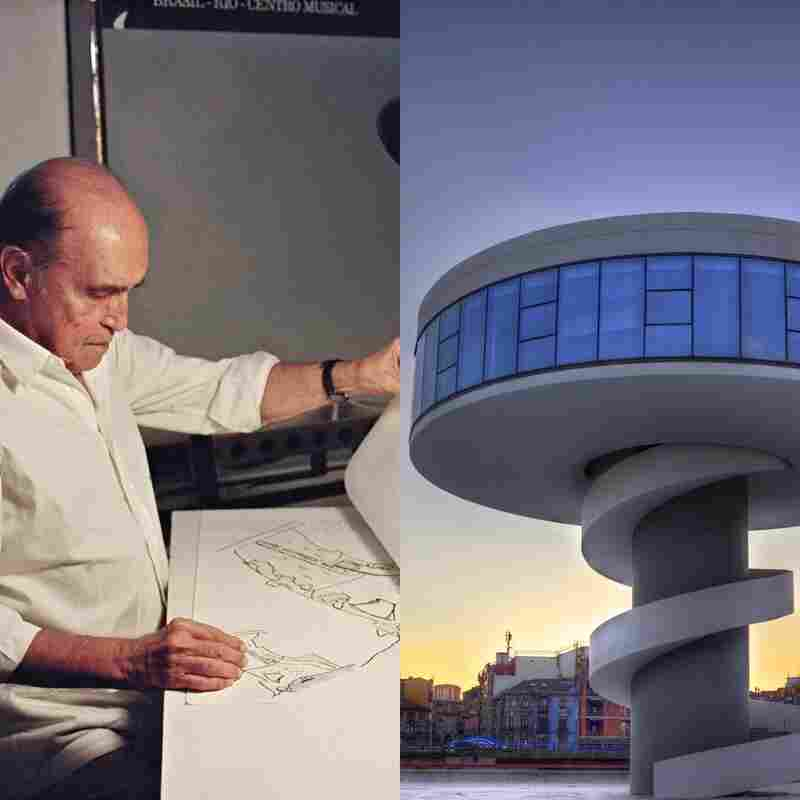Oscar Niemeyer in 1992 (left) and Niemeyer Center in Aviles, Spain, 2011