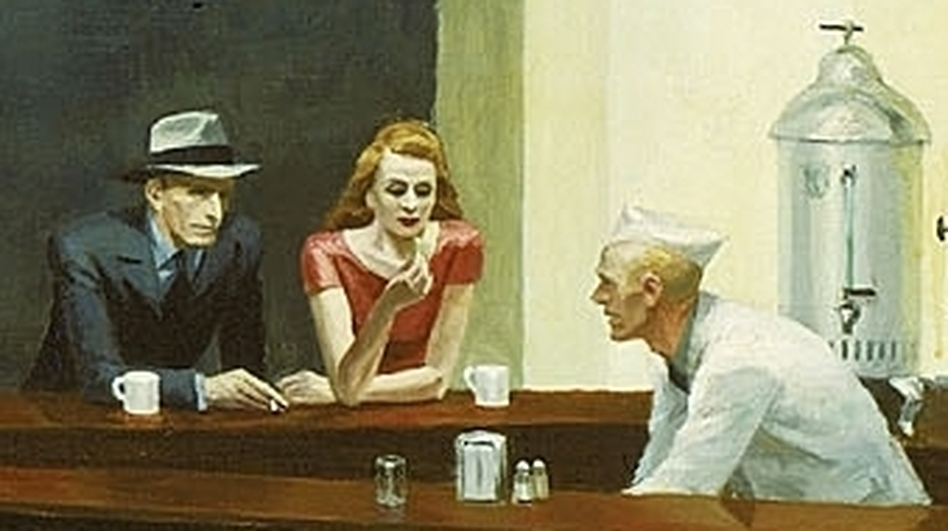 Edward Hopper is well-known in the U.S. for paintings such as Nighthawks (1942) — pensive, lonely portraits of people sitting together yet alone. He was less well-known in France, but an exhibit of his work at the Grand Palais has drawn impressive crowds. (Courtesy of the Art Institute of Chicago)