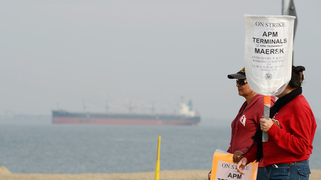 An empty container ship waited near the Port of Los Angeles during the eight-day strike by members of the International Longshore and Warehouse Union. The stoppage put a halt to most of the work at the Los Angeles and Long Beach ports. (Getty Images)