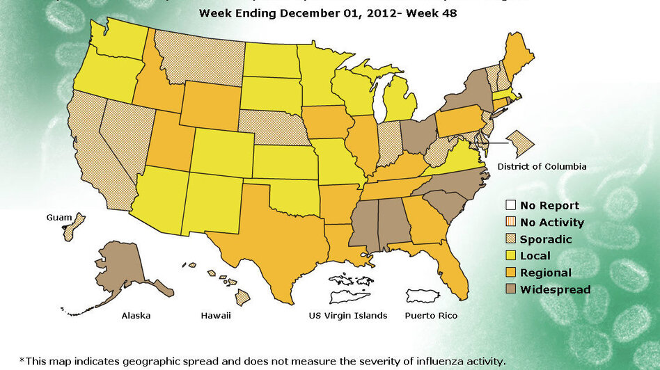 The number of states experiencing widespread flu doubled in the past week. (CDC)