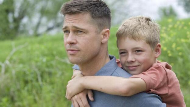 Brad Pitt (left) and Laramie Eppler (right) in Terrence Malick's The Tree of Life. (Fox Searchlight Pictures)