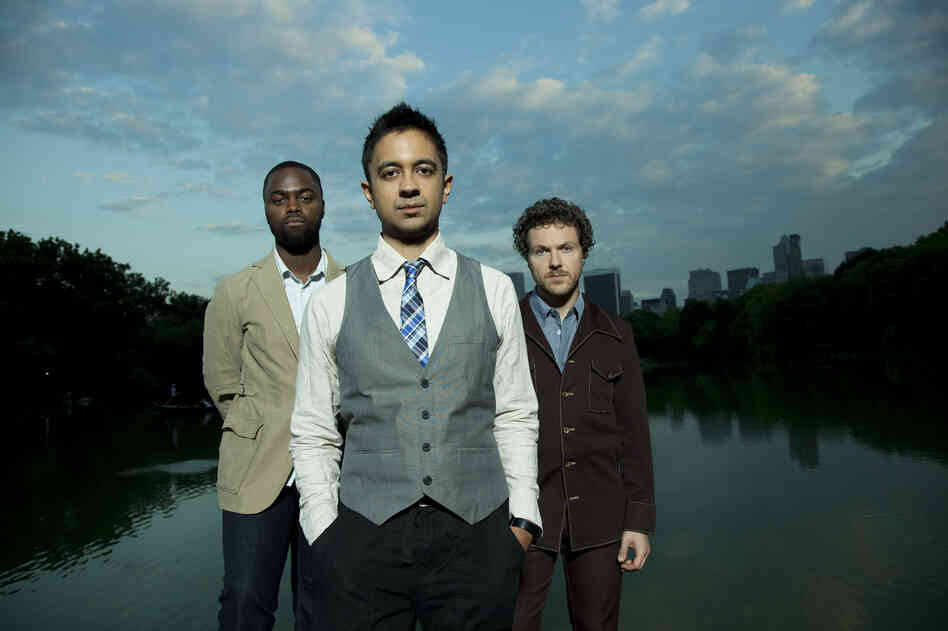 The Vijay Iyer Trio is Marcus Gilmore (left, drums), Iyer (center, piano) and Stephan Crump (right, bass).