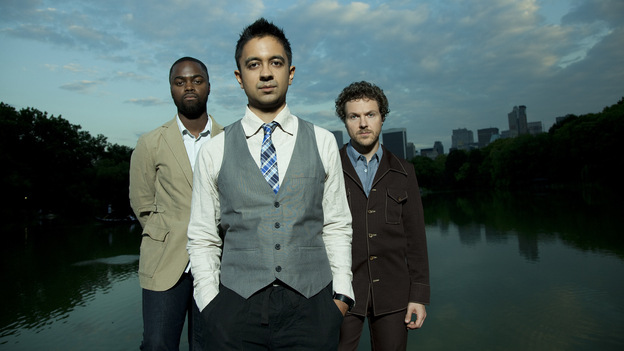 The Vijay Iyer Trio is Marcus Gilmore (left, drums), Iyer (center, piano) and Stephan Crump (right, bass). (Courtesy of the artist)
