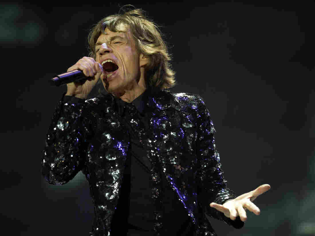 Mick Jagger performing Saturday night in Brooklyn — the Rolling Stones' first American date on the band's 50th anniversary tour.