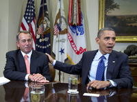 President Obama and House Speaker John Boehner at the White House on Nov. 16. Administration officials say the two men met Sunday to discuss the