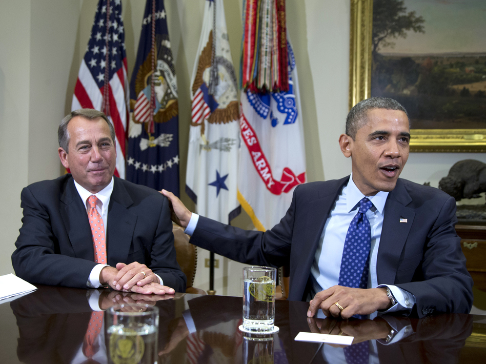 """President Obama and House Speaker John Boehner at the White House on Nov. 16. Administration officials say the two men met Sunday to discuss the """"fiscal cliff."""""""