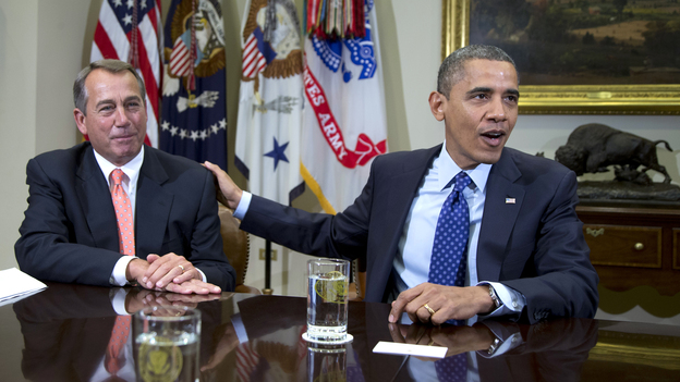 """President Obama and House Speaker John Boehner at the White House on Nov. 16. Administration officials say the two men met Sunday to discuss the """"fiscal cliff."""" (AP)"""
