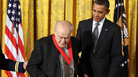 President Barack Obama and the late pianist and scholar Charles Rosen, after Rosen was presented with a 2011 National Humanities Medal on February 13.