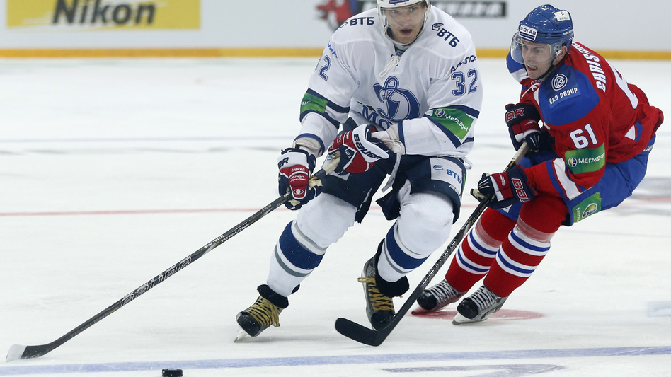 Erik Christensen, right, from Lev Praha challenges Alexander Ovechkin from Dynamo Moscow during their KHL ice hockey match in Prague, Czech Republic, Tuesday, Oct. 9. Ovechkin is among those NHL players who were signed by European clubs because of the NHL lockout. (AP)