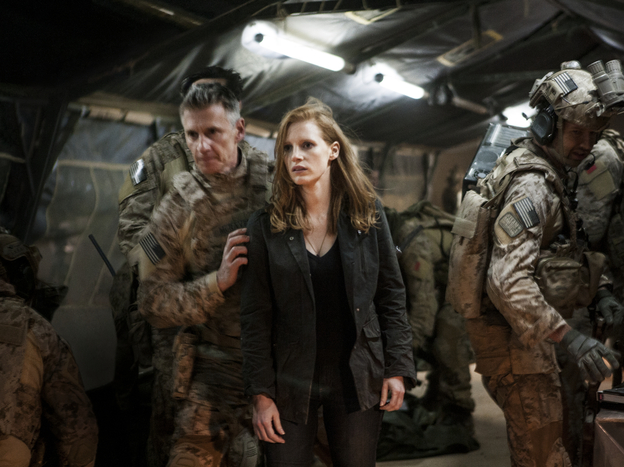 Stationed at a covert base overseas, Maya (Jessica Chastain) is a member of the elite team of spies and military operatives (Christopher Stanley, left, and Alex Corbet Burcher, right) who devote themselves to finding Osama bin Laden.