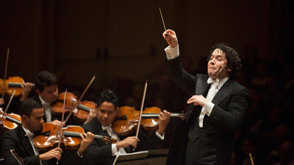 Gustavo Dudamel conducts Simon Bolivar Symphony Orchestra of Venezuela at Carnegie Hall in New York. (NPR)