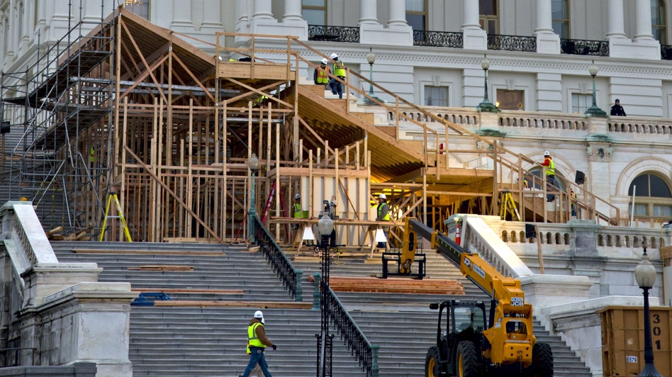 Construction is under way on the viewing stand in front of the U.S. Capitol for President  Obama's Inauguration Day ceremonies on Jan. 21. (AP)